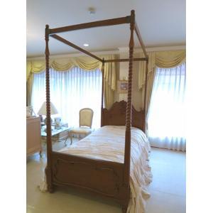 輸入 オーダー家具 ラ・シェル 天蓋ベッド シングルサイズ マイエル色 キャノピースクエア