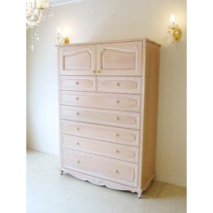 ●新商品●輸入家具 オーダー家具 ハイチェスト W120cm 上下段組立て式 オードリーリボンの彫刻...