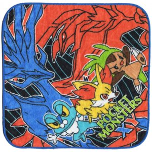 ポケットモンスター XY [ ハンドタオル ] ハンカチタオル「ゼルネアス・イベルタル・ハリマロン・フォッコ・ケロマツ」|wetnodsedog