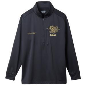 (在庫処分)サンライン ジップアップシャツ SUW−5575HT(長袖) ブラック |wf-ichida