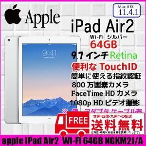 Apple iPadAir2 Retina Wi-Fi 64GB NGKM2J/A 指紋認証 [Apple A8X 64GB(SSD) 9.7インチ OS 11.4.1 シルバー] :美品 中古