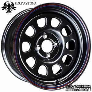 U.S.Daytona デイトナ 15x7.0J オフセット+10 PCD100ブラック色 ホイール4本セット走り屋/ヘラフラ/シャコタン推薦 カスタム/チューニングサイズ|wheel-station