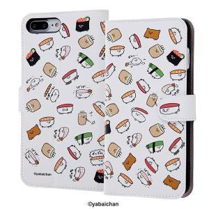 iPhone 7 Plus おしゅしだよ / 手帳型 ケース マグネット しゅまほけーしゅ / 総柄...