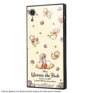 P5倍 23:59まで iPhone XR ケース スクエア ディズニー キャラクター 耐衝撃 ガラスケース KAKU くまのプーさん アイフォンxr カバー 四角 white-bang