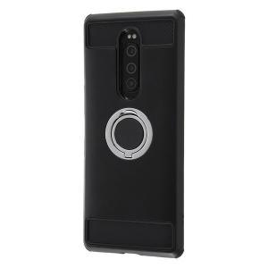 Xperia1 ケース 耐衝撃 リング付 360° / ブラック Xperia 1|white-bang