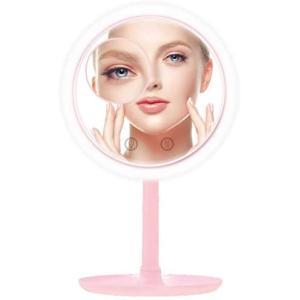 化粧鏡 卓上ミラー LEDライト ファン付き 5倍拡大鏡 タッチセンサー式 ピンク [拡大鏡付きで心地良い風が出てくる] LEDライト付 (ピンク) white-daisy