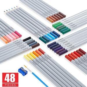 OOKU水彩色鉛筆48色セット 色鉛筆 塗り絵/絵描き/初心者向け色鉛筆 カラーぺん 水溶性彩色鉛筆 塗り絵/絵描きセット (48Piece)|white-daisy