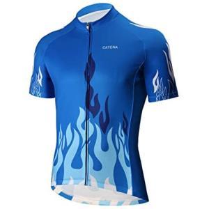 CATENA メンズ サイクリングジャージ 半袖シャツ ランニング上着 運動Tシャツ 自転車ウエア ...
