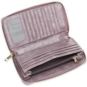 長財布 レディース 磁気防止 財布 メンズ ランドファスナー 大容量 カードケース 大きめ ウォレット リストレット 男女兼用 (ダークパープル)|white-daisy