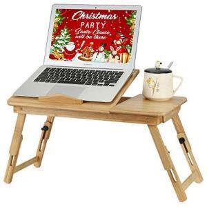 ラップトップテーブル 竹製ラップトップテーブル 竹ベッドテーブルローテーブル 折りたたみ式多機能ラップトップテーブル 朝食トレイ付き|white-daisy