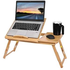 Haturi ベッドテーブル ノートパソコンデスク 竹製 折りたたみ ベッドデスク パソコンテーブル 調節可能 引き出し付き ラップデスク|white-daisy