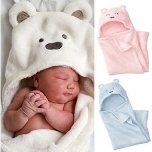 おくるみ 赤ちゃん 新生児 出産祝い 男の子 女の子 ふわふわ クマ スワドル アフガン (ピンク) (ピンク) white-daisy