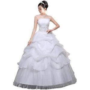 (アンダブル) AnW ウェディング ドレス 二次会 プリンセス ビスチェ 肩 出し ウエディング 結婚式 (3.L)|white-daisy