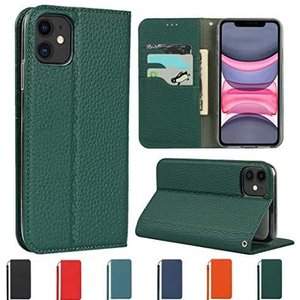 Sailortech iphone 11 ケース手帳型 iphone 11 カバー 財布型 ライチ紋様 本革 (濃い緑色 iPhone 11)|white-daisy