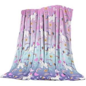 毛布 虹 ユニコーン ブランケット エアコン対策 敷き毛布 フランネル シングル 暖かい 掛け毛布 洗える 柔らかい ふわふわ 軽い掛け布団 発熱効果|white-daisy