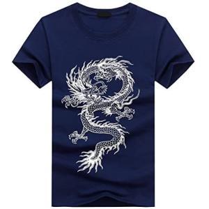 BUZZxSELECTION(バズ セレクション) Tシャツ 半袖 カットソー かっこいい ドラゴン 龍 竜 和柄 (03 ネイビー L)|white-daisy