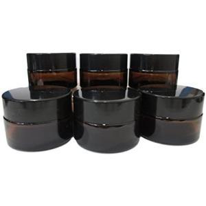 クリーム 容器 詰め替え容器 小分け容器 ジャー 中蓋付き 遮光瓶 ガラス製 茶色 (20g) (20g)|white-daisy