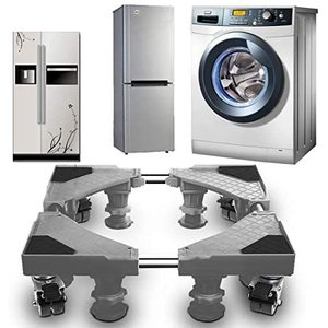 洗濯機 台 冷蔵庫置き台 キャスター付 洗濯機置き台 かさ上げ 360移動式 昇降可能 サイズ調整可能 耐荷重500kg (グレー 8輪4足) white-daisy