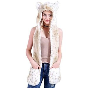 Vovoo レディース手袋付きアニマル帽子マフラー 可愛い動物帽子 人気COSPLAY猫耳 (#4ユキヒョウ M)|white-daisy