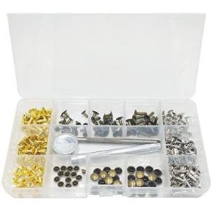 LGEGE カシメセット 135組 レザークラフト ボタン 打ち具セット 布革細工 DIY バッグ ベルト 丸形 3サイズ 3種類 6mm 8mm|white-daisy