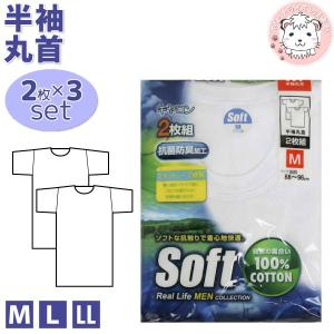 紳士 キャロンSOFT 半袖丸首シャツ 2枚組×3セット M L LL 綿100% フライス 半袖 ...