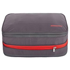 便利旅行圧縮バッグ【2019年最新の改良版】ファスナー圧縮で衣類スペース50%節約  15L グレー