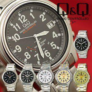 Q&Q 腕時計 ソーラー電波時計 電波ソーラー 防水 メンズ腕時計 うでどけい wide02
