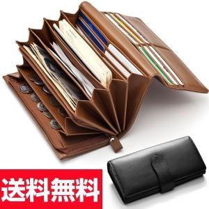 長財布 レディース やりくり財布 大容量カード16枚入る 家計用 アコーディオン 黒 本革 ブラック キャメル 茶 ライトブラウン 通帳入ります wide02