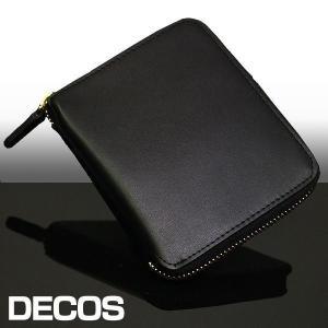 二つ折り財布 メンズ レディース おしゃれ 革 ボックス型小銭入れ さいふ サイフ レザー ラウンドファスナー ウォレット デコス DECOS wide02