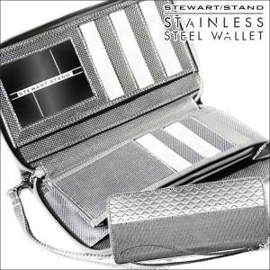 財布 長財布 メンズ ラウンドファスナー 軽量 軽い スキミング防止 男性 紳士 鉄製 金属 メタル ステンレススチール製 スチュワートスタンド|wide02