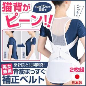 背筋補正ベルト 2枚セット 男女兼用 整骨院と共同開発 背筋まっすぐ 姿勢補正 背筋補正|wide02