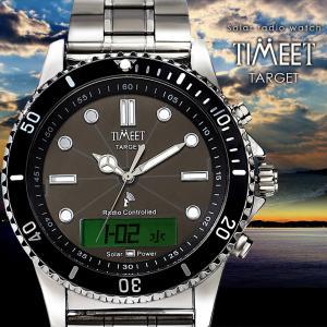 腕時計 メンズ 電波ソーラー メタルバンド 紳士腕時計 アナログ 男性用 ベルト交換可能 デジアナ デジタル おしゃれ かっこいい ティミット ホワイトデーギフト wide02