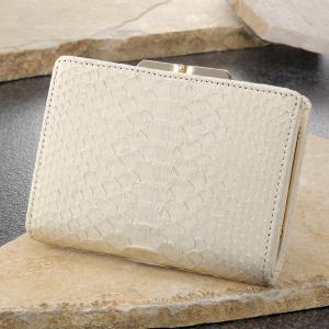 財布 がま口財布 二つ折り 革 メンズ レディース 白蛇 開運財布 金運アップ財布 さいふ 白蛇革 サイフ|wide