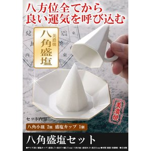 盛り塩 皿 盛り塩セット 美濃焼 陶器 2皿とカップのセット 型 固め器 盛り塩用皿 金色 玄関 厄除け 開運 金運 八角錐|wide