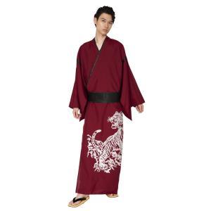 花鳥風月 着物 虎 紅 メンズ 和装 仮装 衣装 演劇 舞台 日本的コスチューム