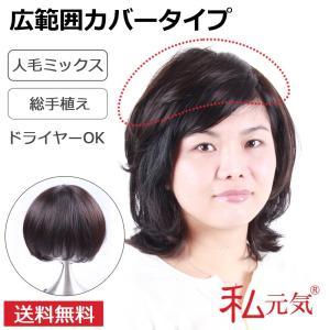 部分ウィッグ 総手植え人毛ミックス ボリュームUP 私元気 S6Y2-N2|wigshop
