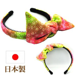カチューシャ リボン 和柄 京ちりめん 和装 浴衣 ヘアアレンジ 日本製  mbr-ina018|wigwigrunes