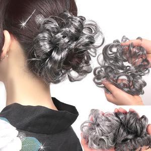 ウィッグ 白髪 しらが シュシュウィッグ つけ毛 エクステウィッグ ポイントウィッグ 和装  お団子ウィッグ kw1-wt50|wigwigrunes