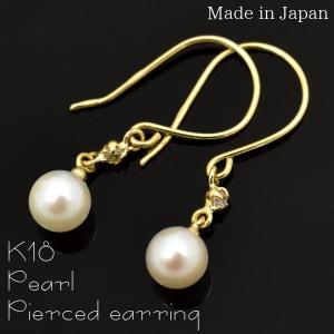プチギフト 国内生産 K18使 対応  本真珠フックピアス K18 18金 ダイヤモンドとパール使 対応 |wil-mart