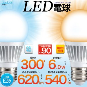 2017年最新 LED電球 E26口金 広角300° 6Wタイプ|wil-mart