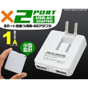送料無料 USB→家庭 対応 コンセント充電アダプター USB2ポート 1000mA 国内+海外対応