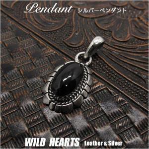シルバーペンダントトップ シルバー925 オニキス インディアンジュエリー (ID 03k7) wild-hearts