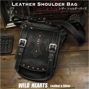 レザーショルダーバッグ/メッセンジャーバッグ/黒/ブラック (ID bb0658t17)|wild-hearts