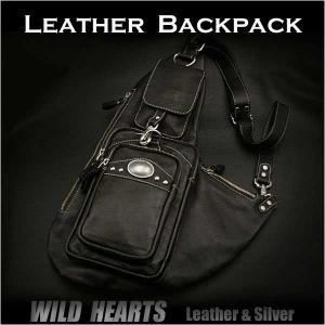 ボディバッグ ワンショルダーバッグ リュック 斜めがけバッグ ブラック/黒 レザー/牛革  (ID bb2113t21)|wild-hearts
