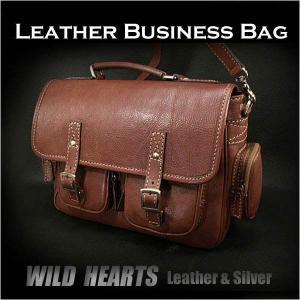 レザービジネスバッグ ショルダーバッグ ブリーフケース ボストンバッグ/本革/メンズ (ID bb2260)|wild-hearts
