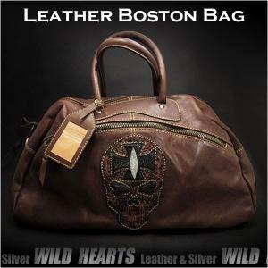メンズ ビッグサイズ ボストンバッグ レザー/本革 ショルダーバッグ  旅行用バッグ ハンドメイド (ID bb2799)|wild-hearts