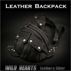 レザーボディバッグ ワンショルダーバッグ レザー リュック 斜めがけバッグ 牛革/ヌメ革/黒色 (ID bb2830t19)|wild-hearts