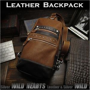 ボディバッグ バックパック ワンショルダーバッグ  レザー リュック タン レザー/牛革 (ID bb2963t9)|wild-hearts