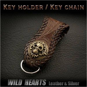 ベルトループ キーホルダー 牛革 サドルレザー コンチョ カービング ダークブラウン  (ID con008k4)|wild-hearts