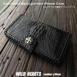 クロコダイル iPhone 6 Plus/6s Plus/7 Plus/8 Plus 手帳型レザーケース アイフォンプラス ワニ革/牛革 ブラック/黒 (ID ip2878r45)|wild-hearts